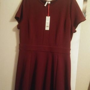Elle Dresses - NWT Aline Deep Burgundy short sleeve dress Sz XL